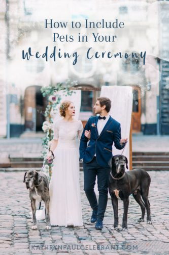 Bride & Groom with 2 dogs - How to include pets in your wedding ceremony.
