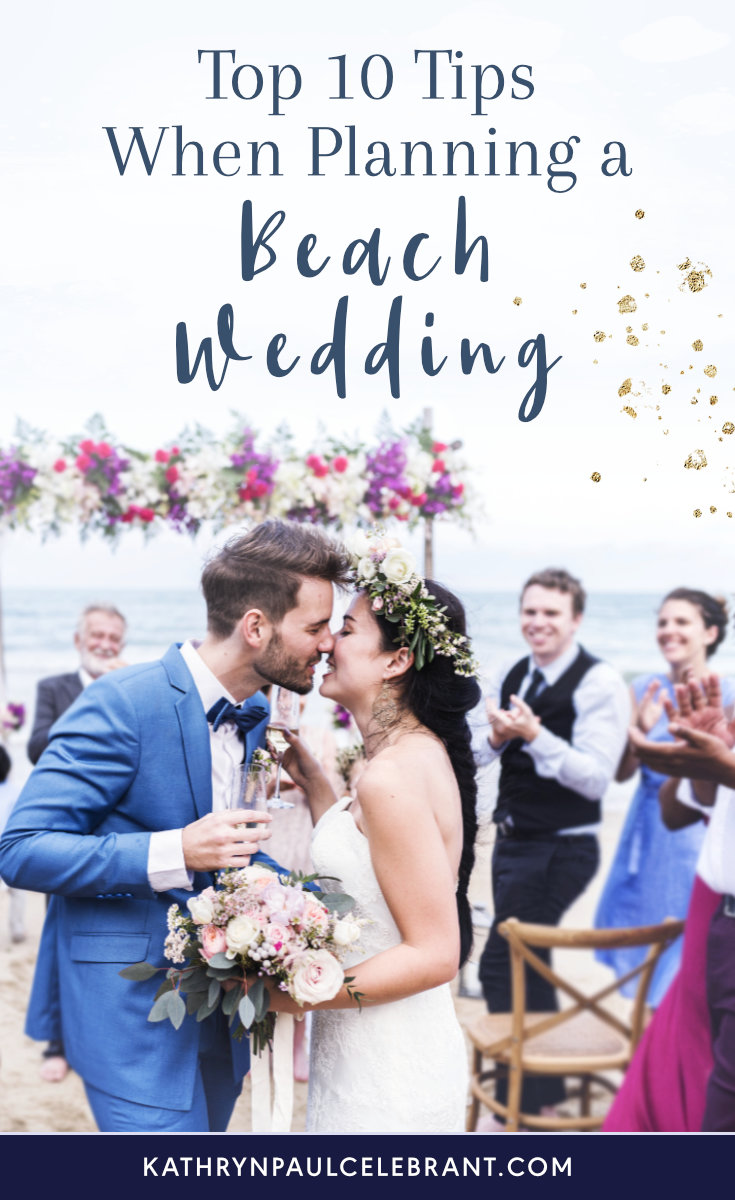 Bride and groom marrying on the beach: Top 10 tips when planning a beach wedding.